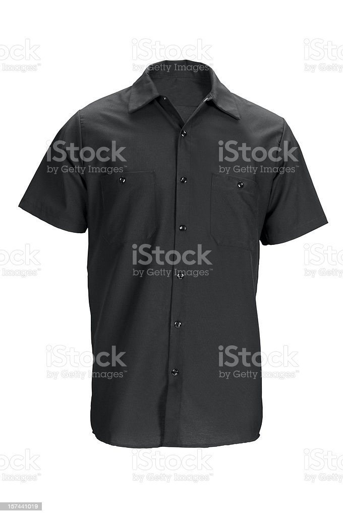 Men's black, short sleeved shirt-isolated on white w/clipping path royalty-free stock photo