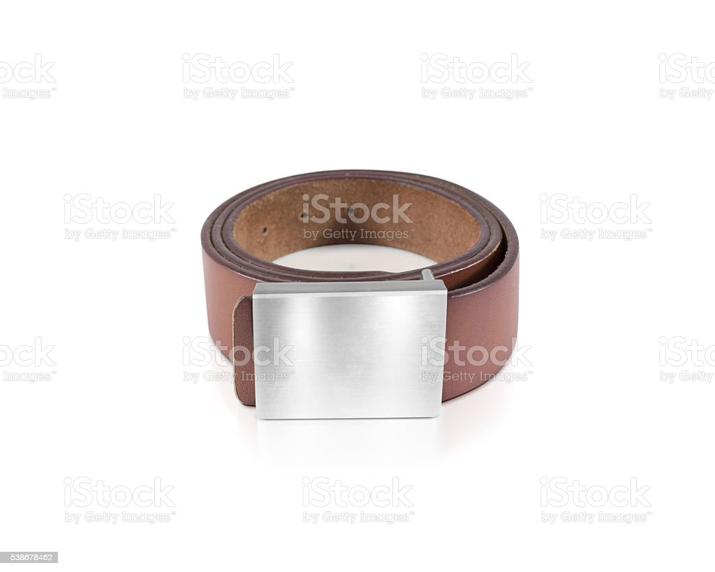 Mens brown belt with blank badge mockup isolated stock photo