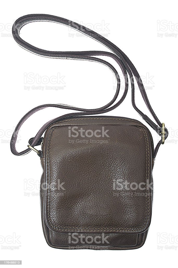 Men's brown leather bag isolated on white royalty-free stock photo