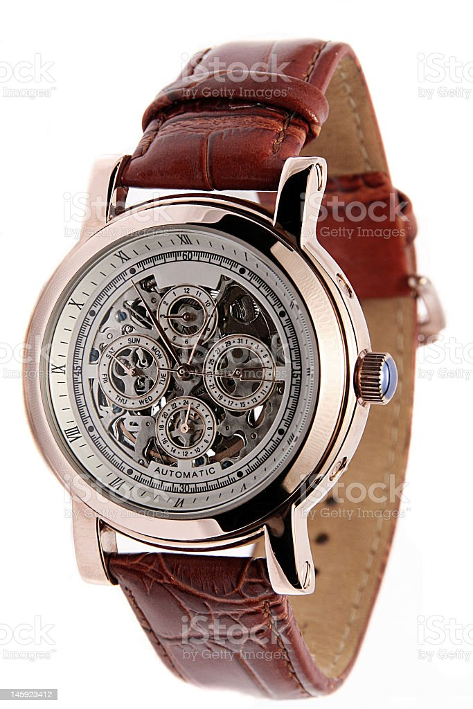 Men's brown leather wrist watch stock photo