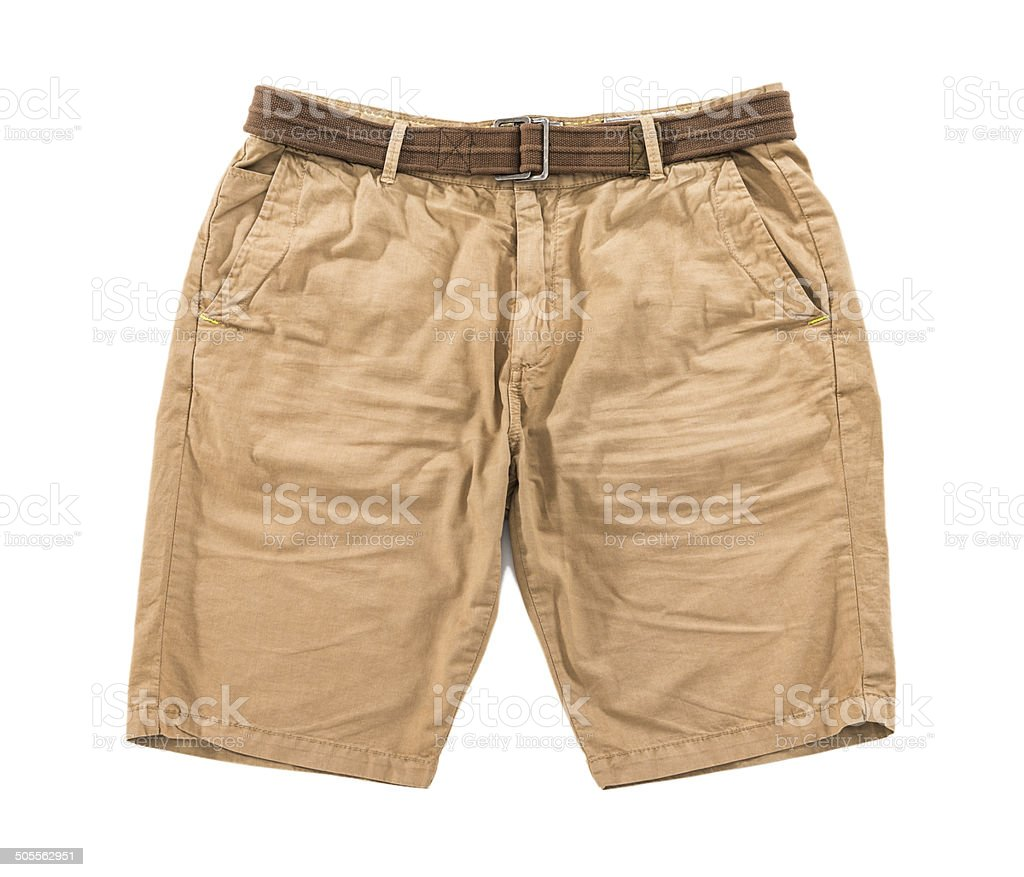 Men's brown wrinkled shorts with belt isolated on white background stock photo