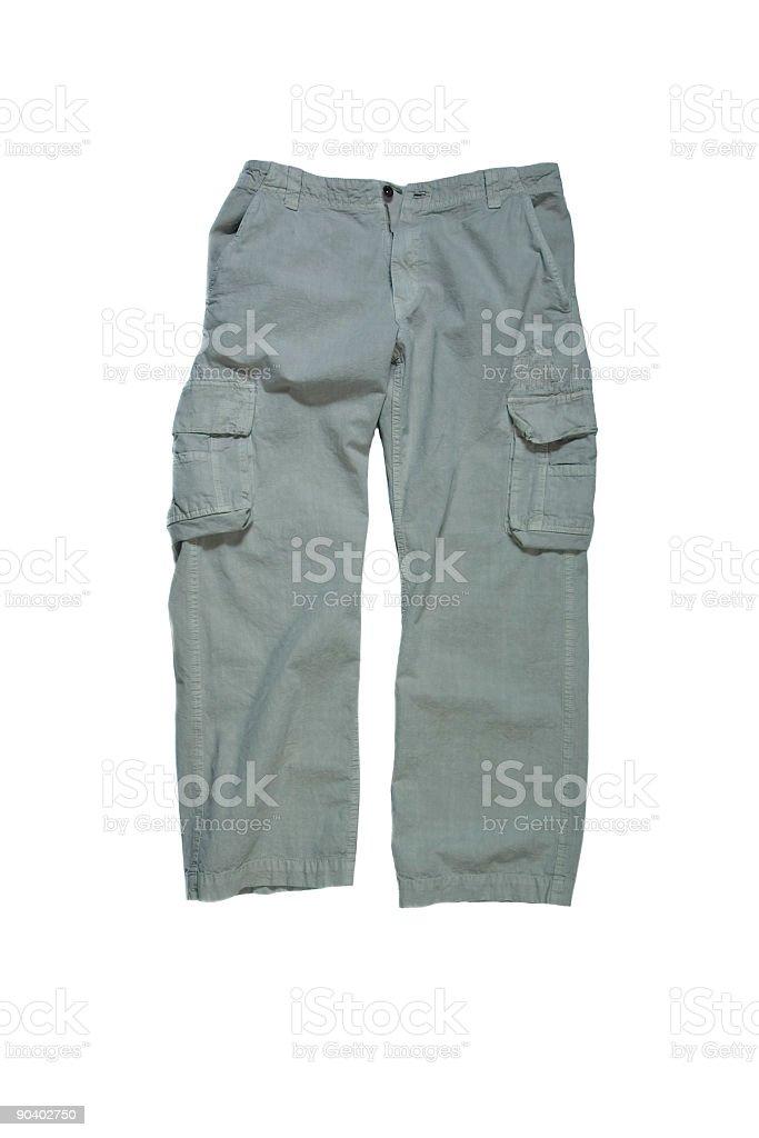 Men's Cargo Pants - Stone Colored on White Background stock photo