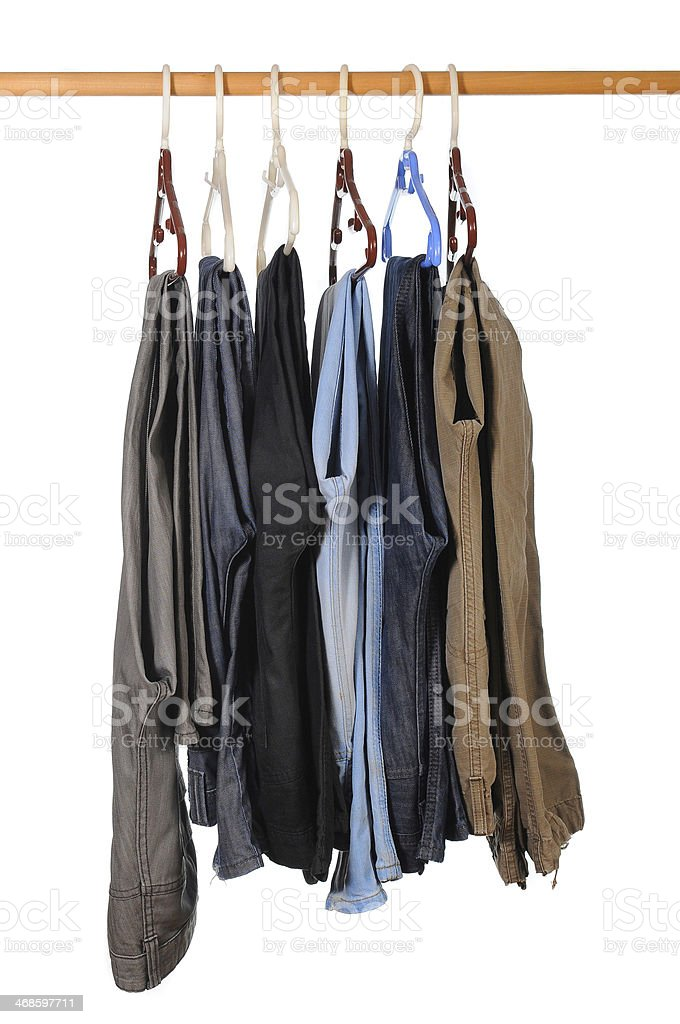Mens casual jeans and formal fashion on isolated white background stock photo