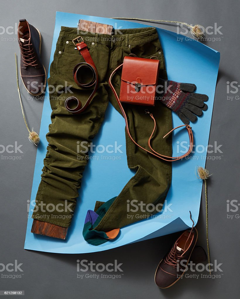 Men's casual outfits with accessories stock photo