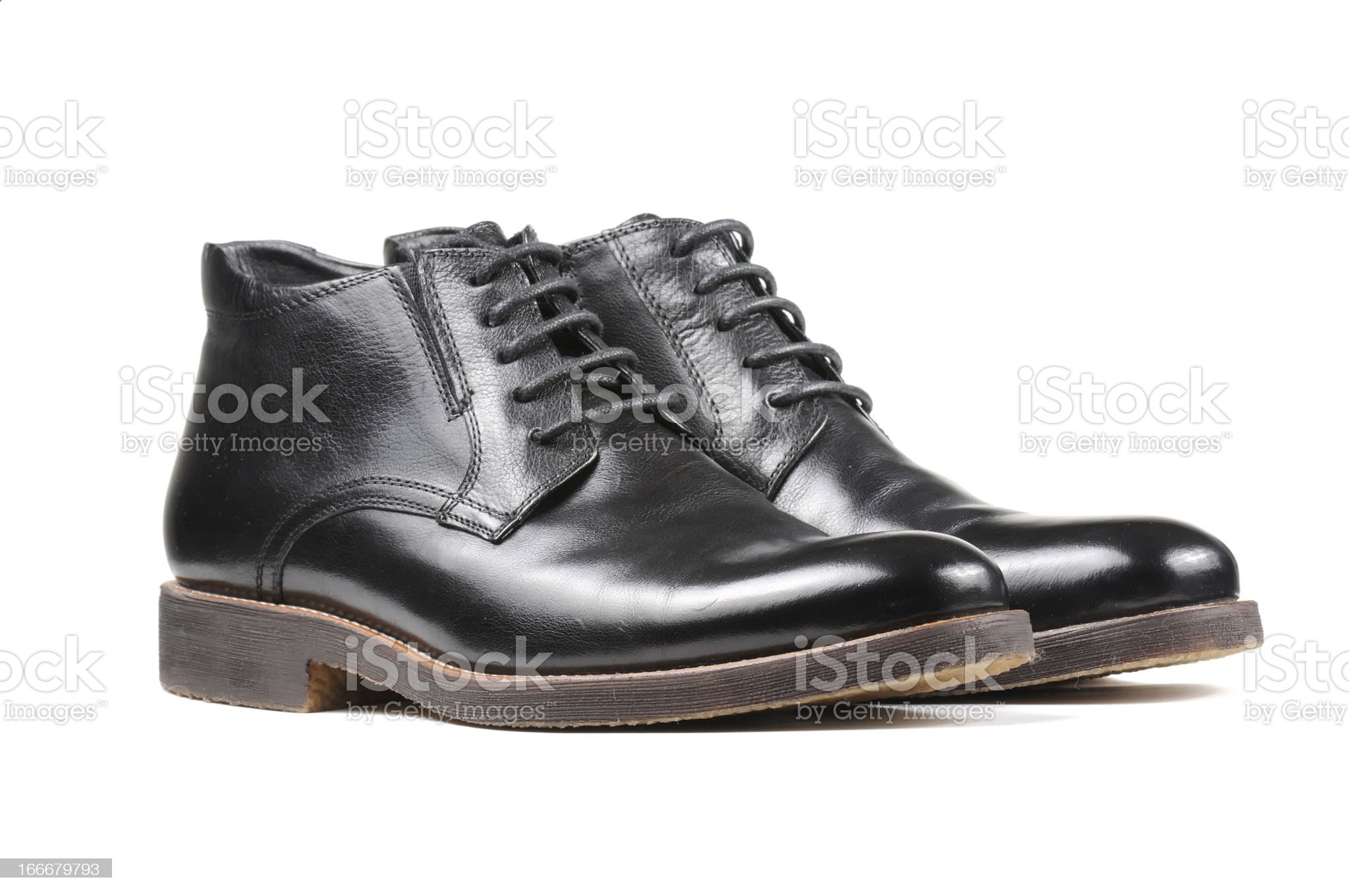 Men's Classic Black Leather Shoes Isolated on White Background royalty-free stock photo