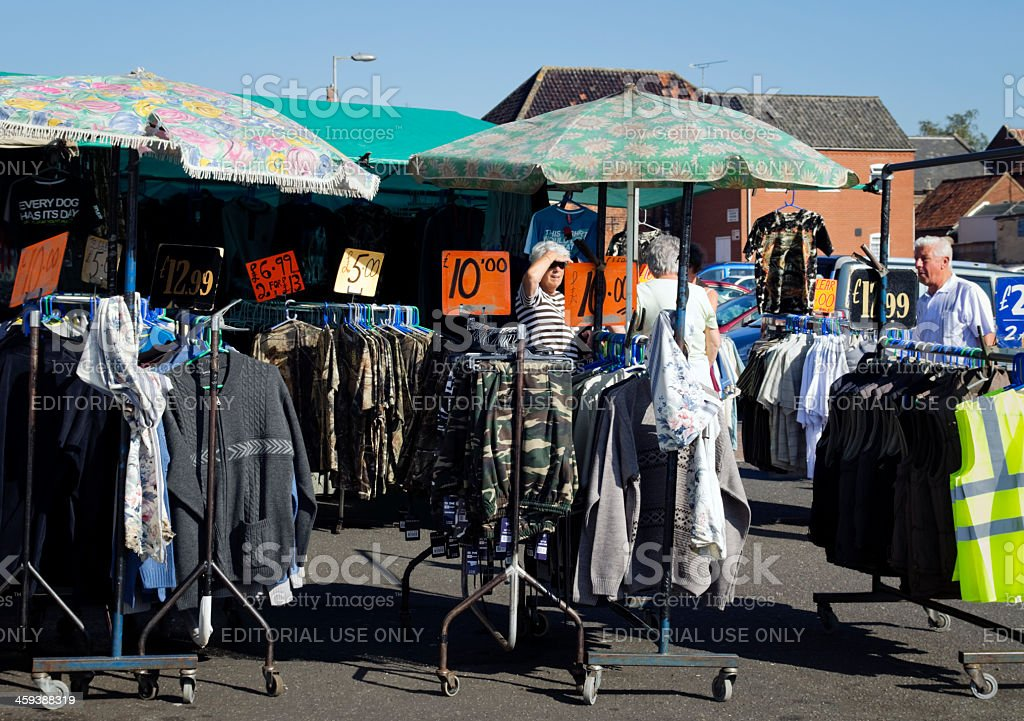 Men's clothes for sale on a market stall royalty-free stock photo
