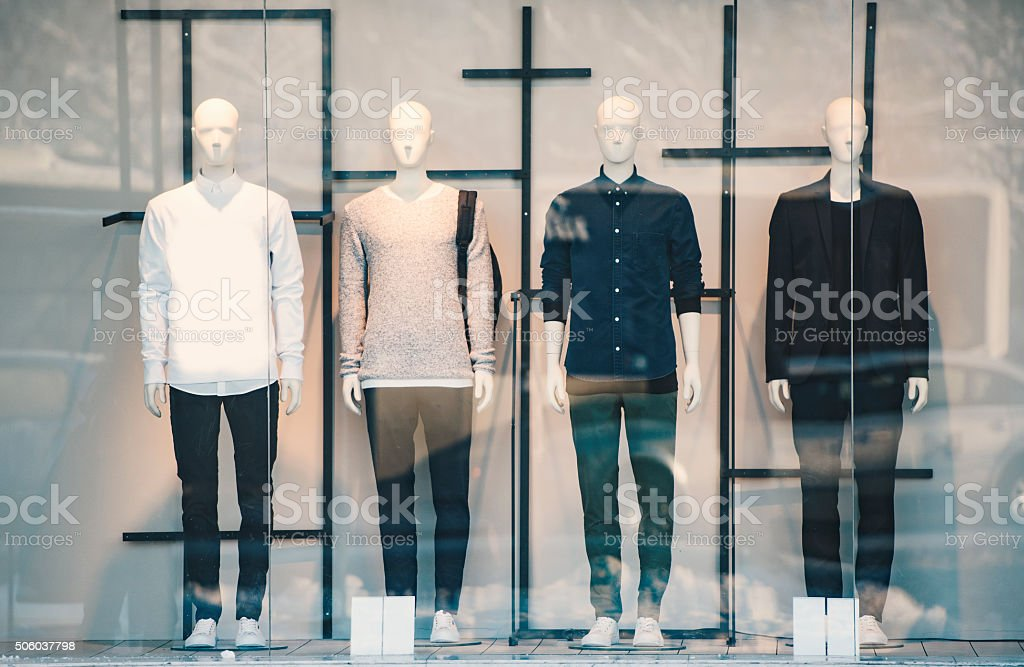 Mens clothing in a retail store stock photo