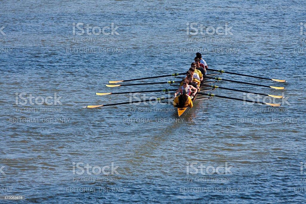 Men's College Crew Team Rows Down Atlanta River stock photo