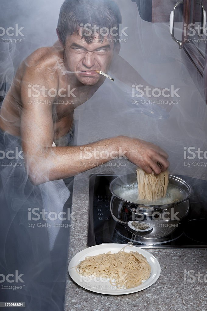Men's creative kitchen stock photo