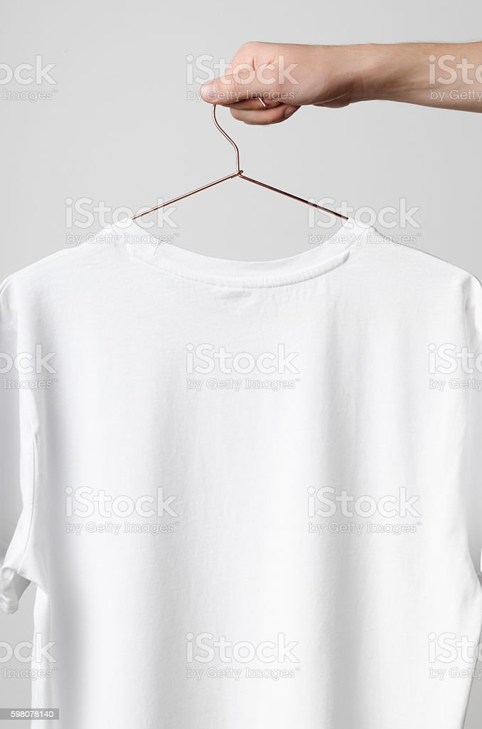Men's Crew Neck T-Shirt Mock-Up - Backside stock photo