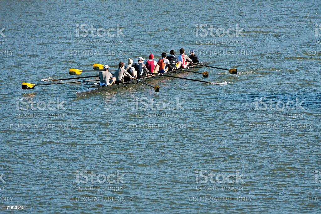 Men's Crew Team Rows Down Atlanta River stock photo