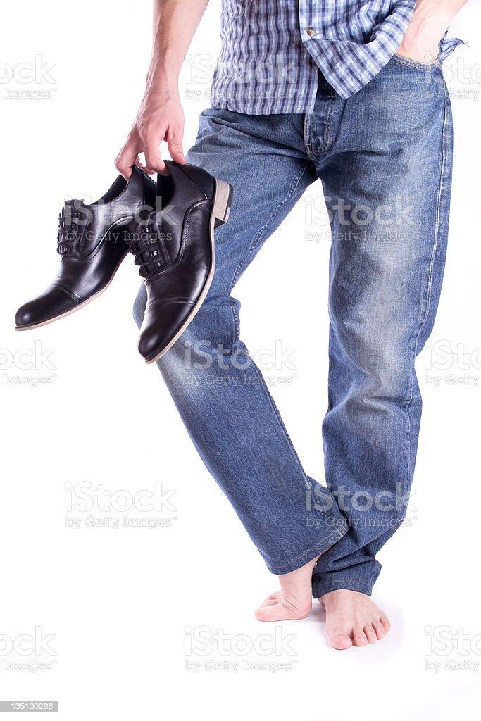 Men's feet barefoot royalty-free stock photo