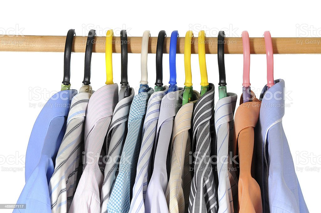 Mens formal shirts and outfit fashion on isolated white background stock photo