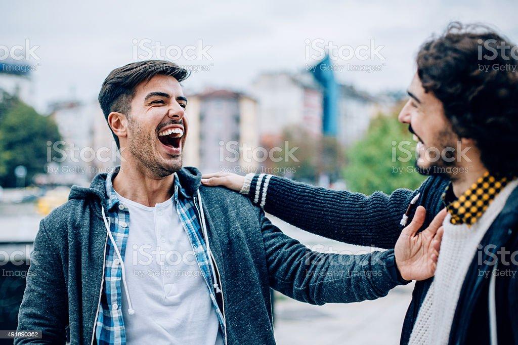 Men's friendship stock photo