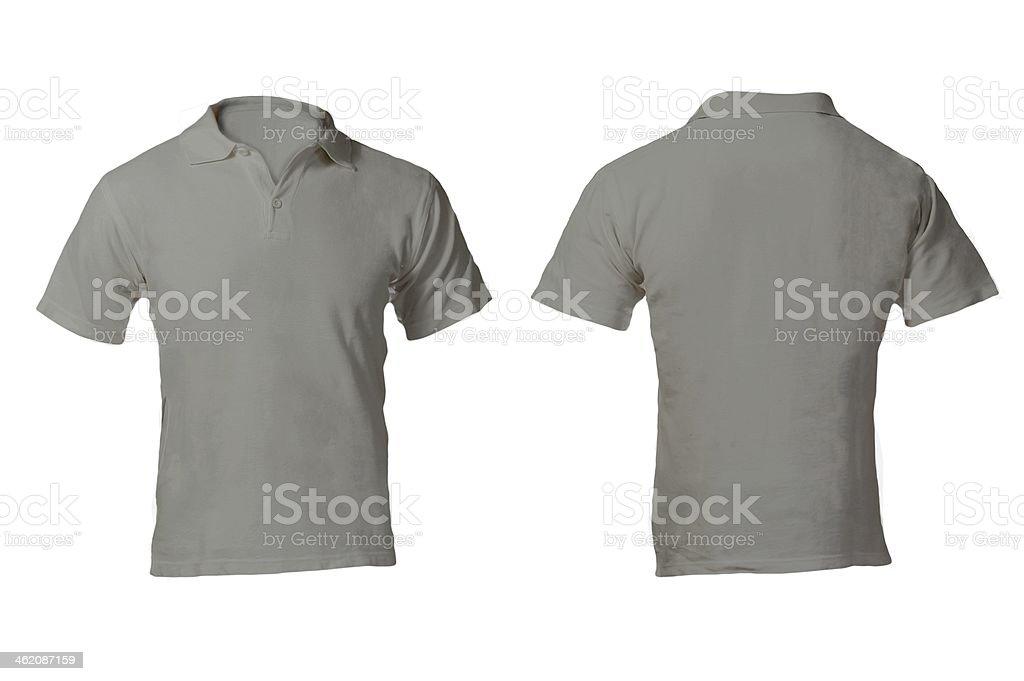 Men's Grey Polo Shirt Template stock photo