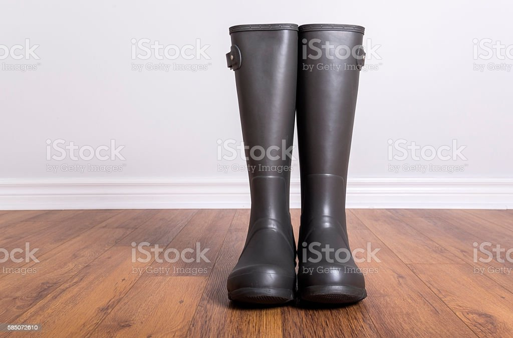 Men's Grey Rubber Boots stock photo
