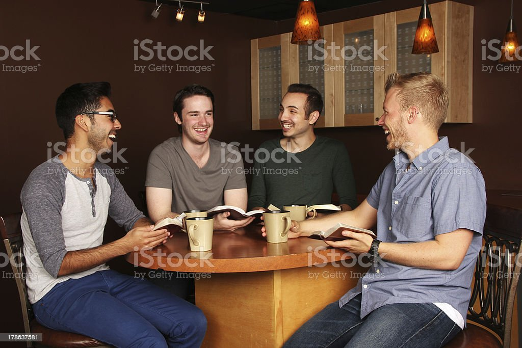 Men's Group Bible Study stock photo