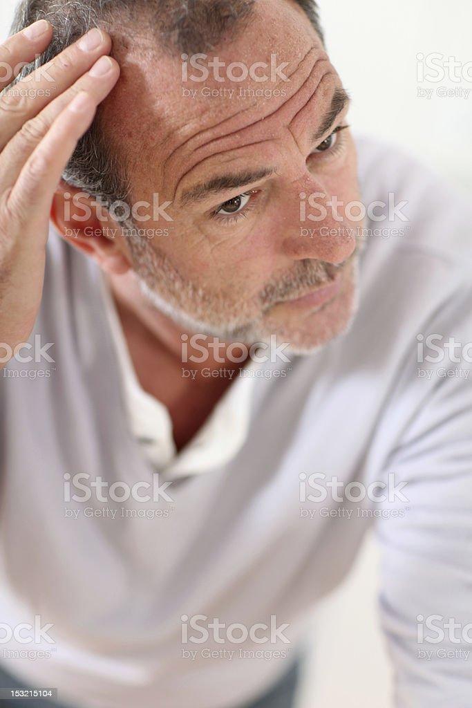 Men's hair concern stock photo