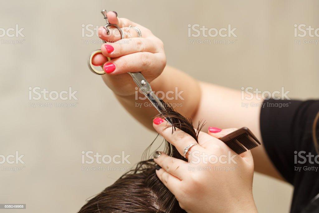 Men's haircut stock photo