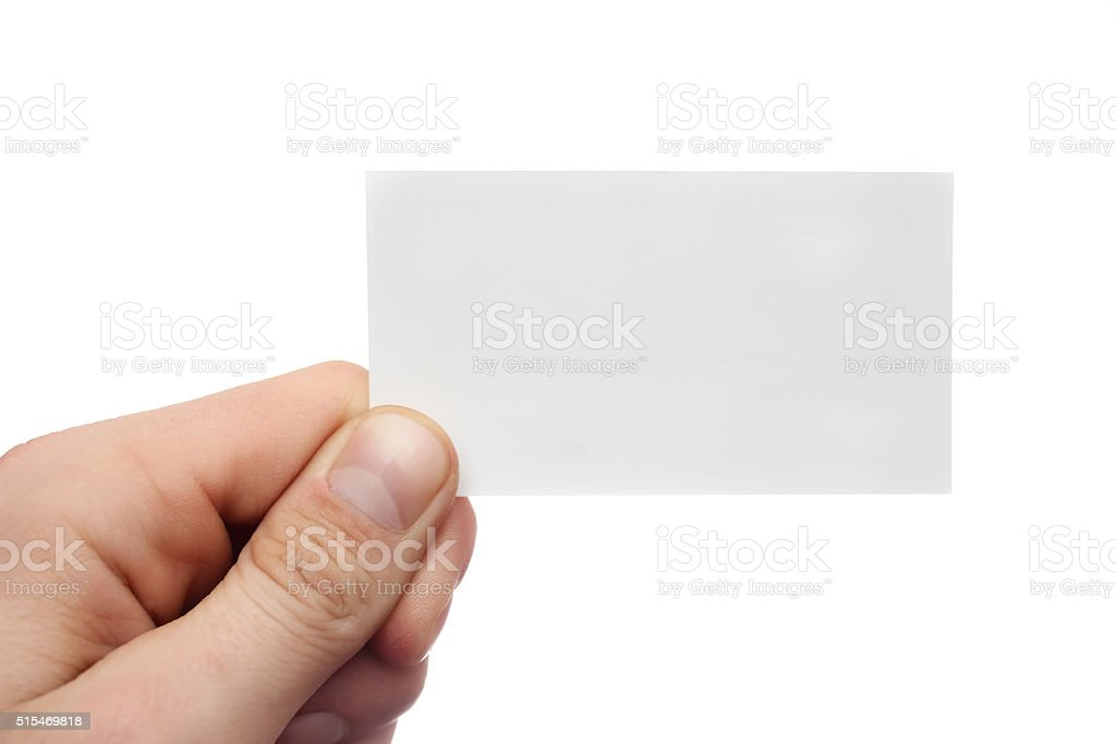 Men's  hand holds business card on white background stock photo
