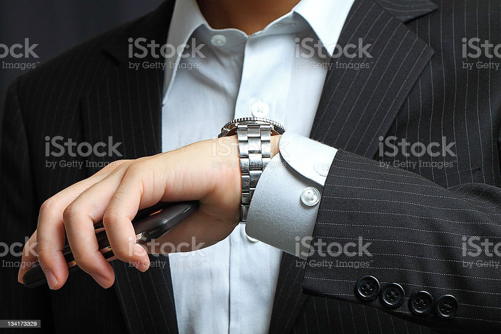 men's hand with a watch. stock photo