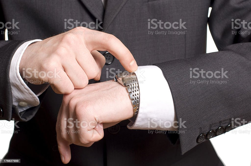 men's hand with a watch. royalty-free stock photo