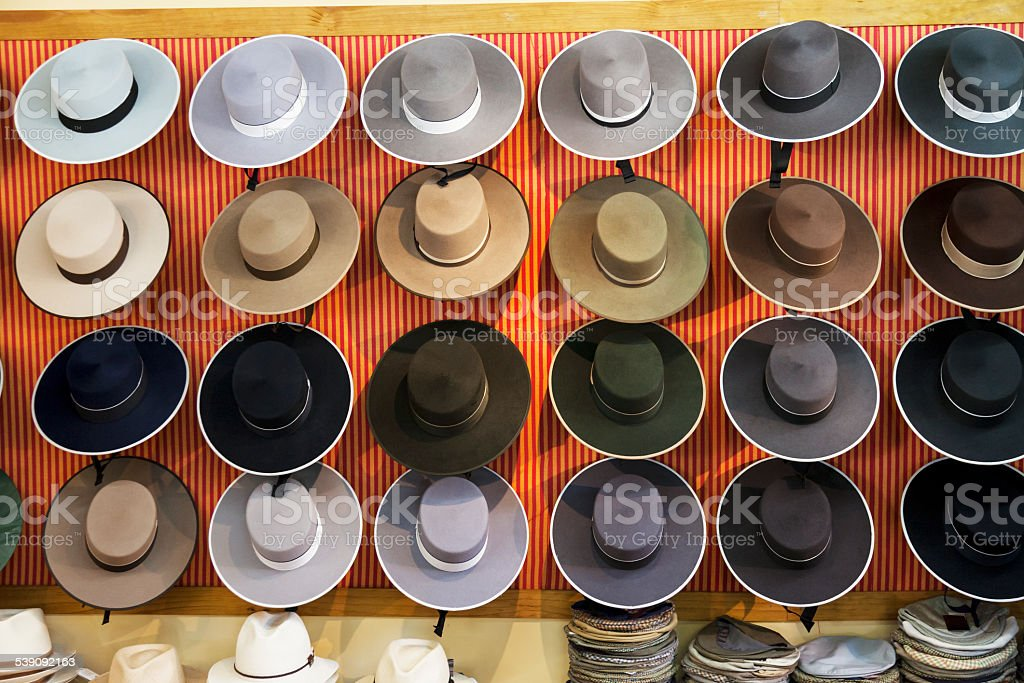 Mens hats for sale stock photo