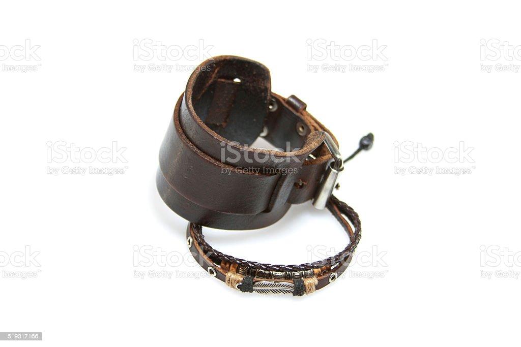 Men's leather bracelet on white background stock photo