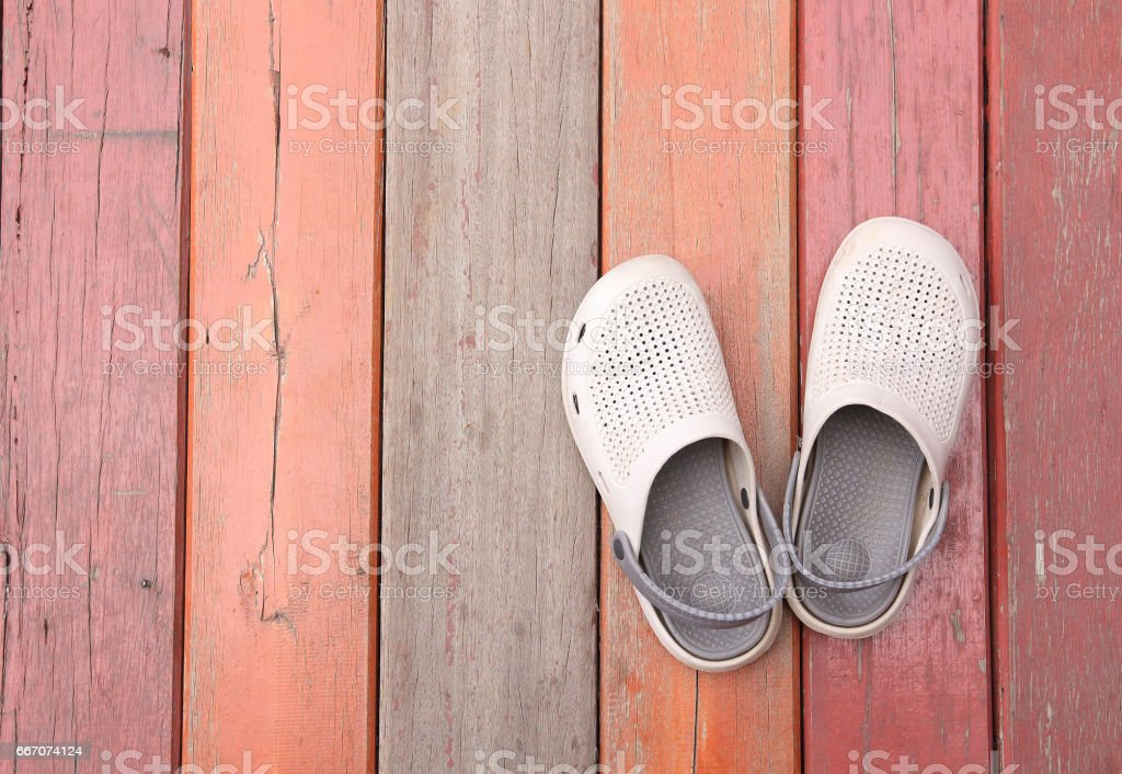 Men's Loafer Shoe on old wood background stock photo