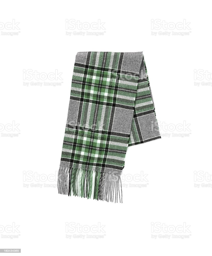 Men's Men Wool gray Plaid Scarf with trim royalty-free stock photo