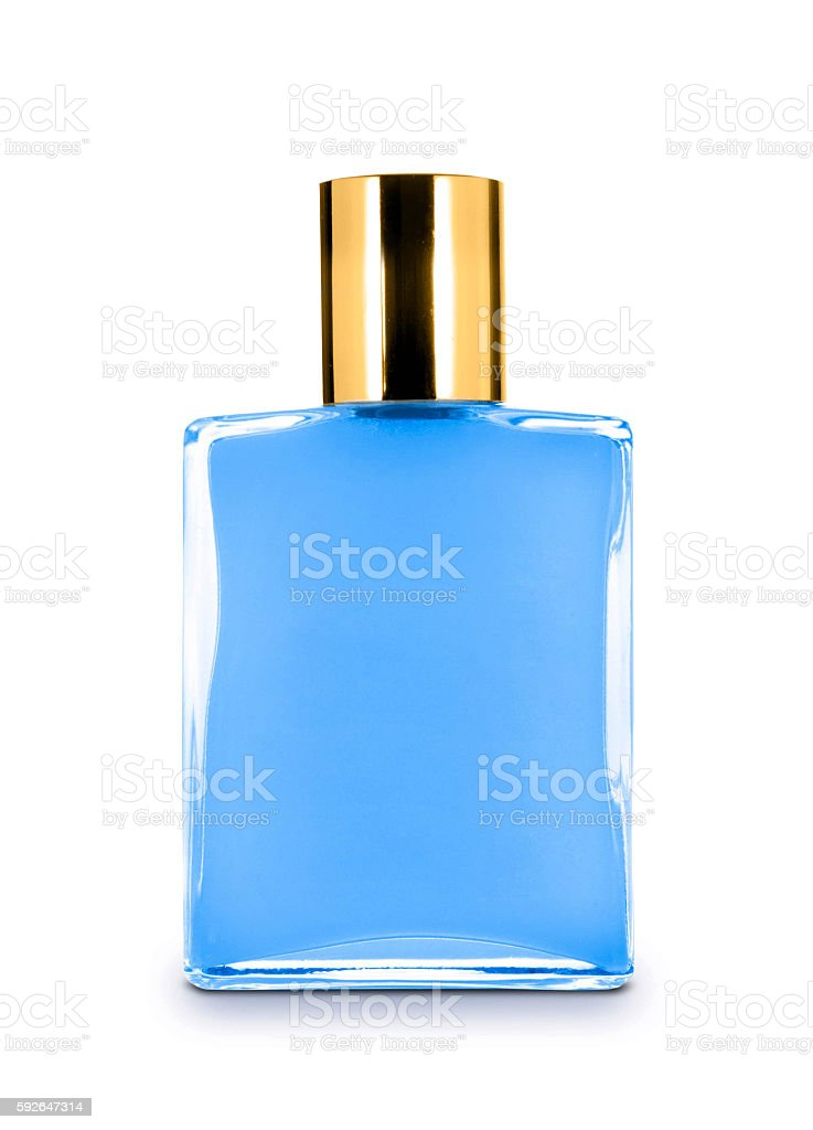 men's perfume in beautiful bottle isolated on white stock photo