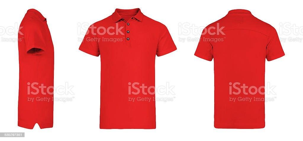 Men's Red Polo Shirt multiSides Template stock photo