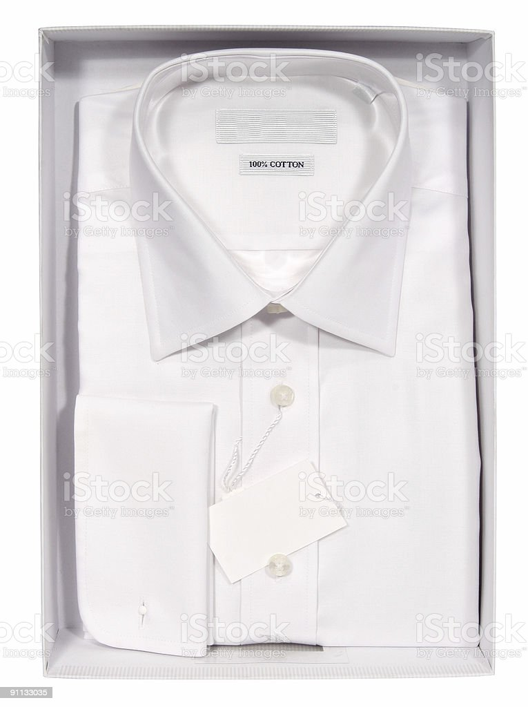 Men's shirt in a box royalty-free stock photo