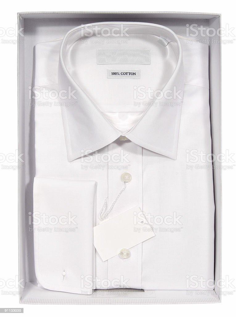 Men's shirt in a box stock photo