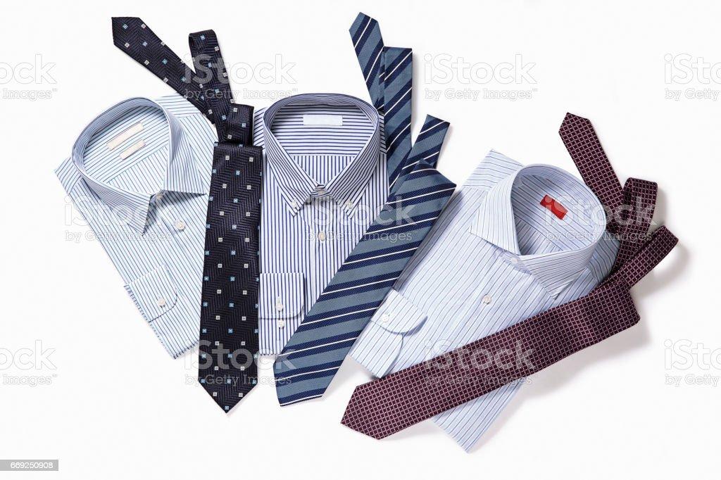 Men's shirts with necktie stock photo