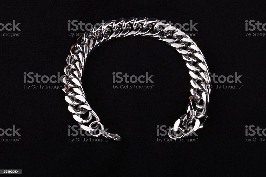 Men's  Stainless Silver Bracelet stock photo