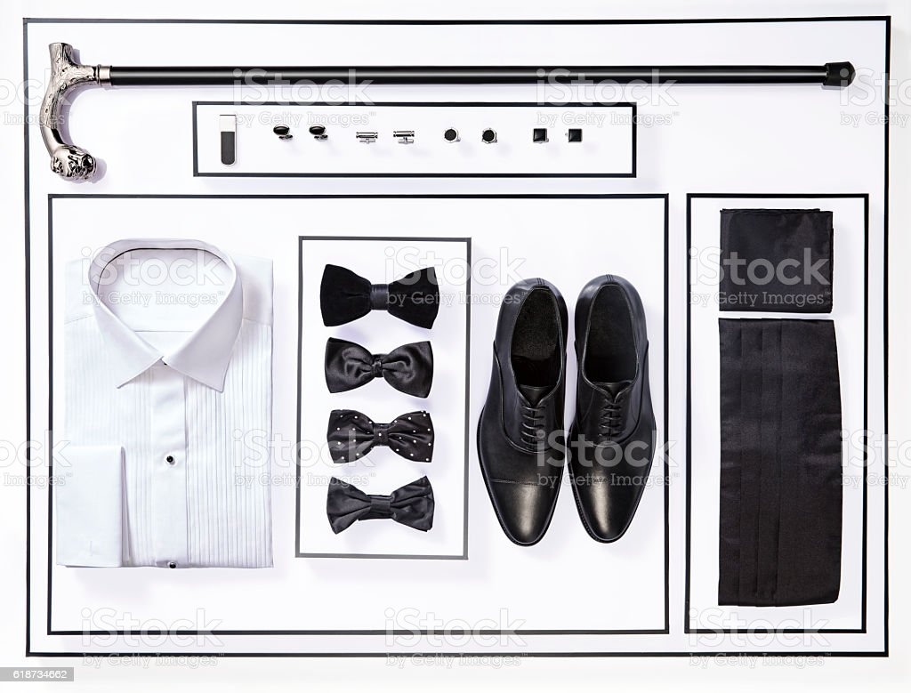 men's suit and personal accessories stock photo