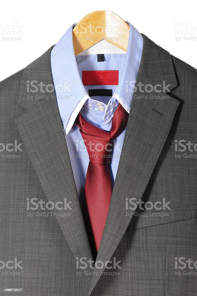 Mens suit with necktie and formal fashion on isolated background stock photo