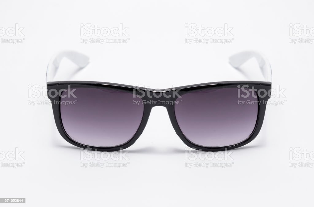Mens sunglasses in thick black plastic frame isolated on white stock photo