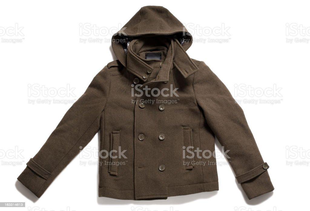 Men's Winter Pea Coat Isolated on White Background royalty-free stock photo