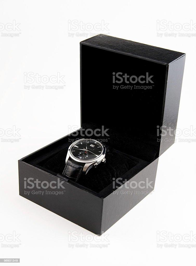 Men's wristwatch in black case royalty-free stock photo