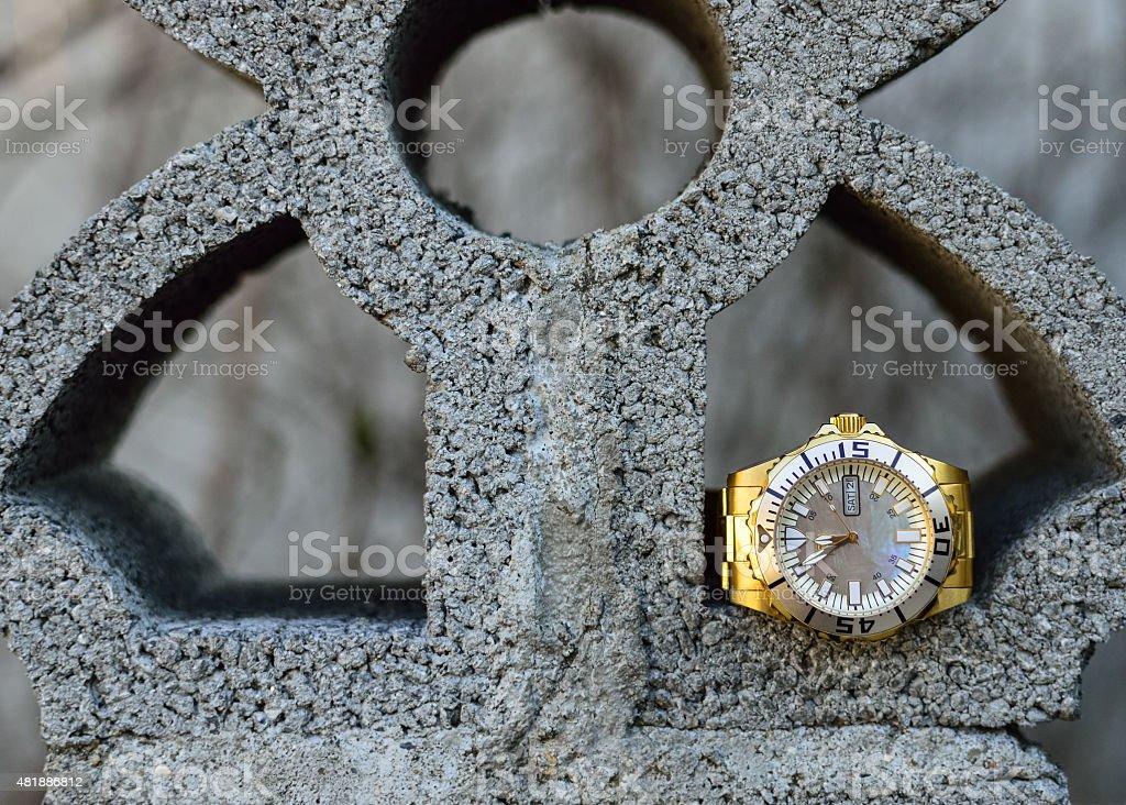 Men's wristwatch of gold stock photo