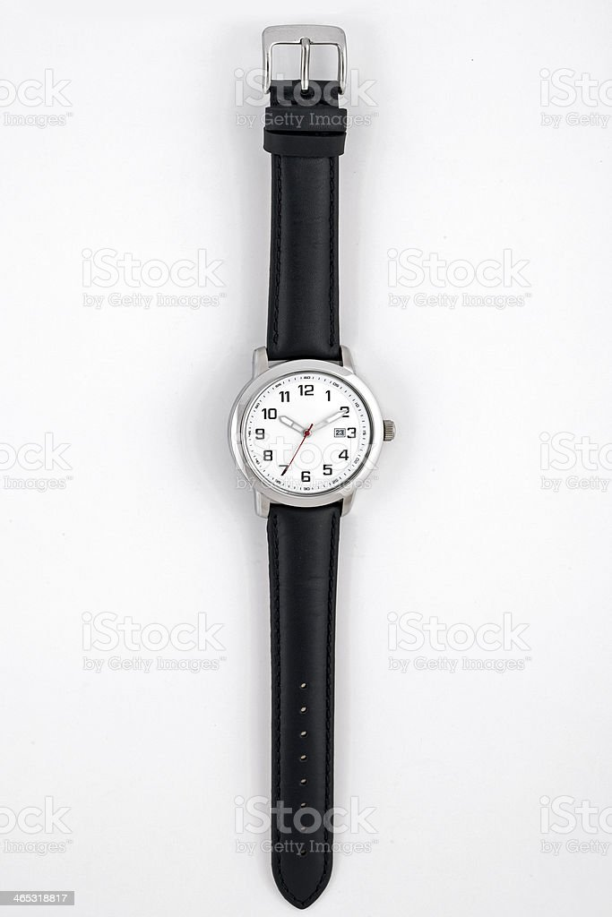 Men's wristwatch with black leather band on white background stock photo