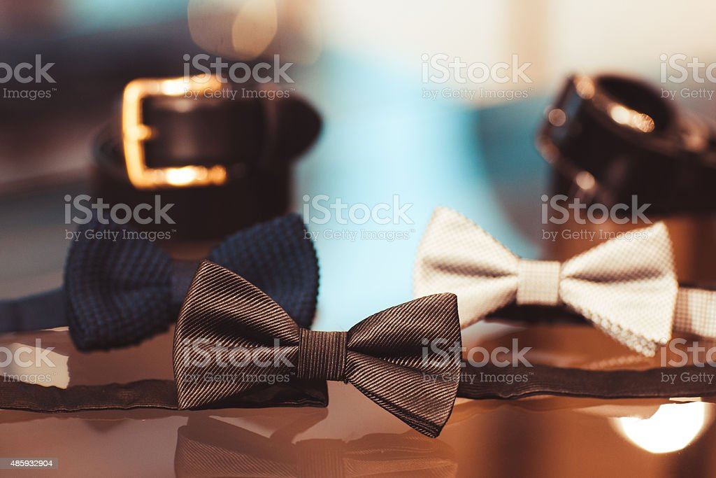 Menswear set. Belt, bow tie stock photo