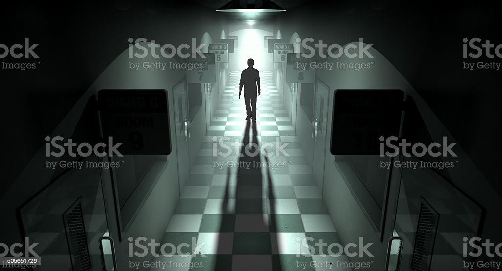 Mental Asylum With Ghostly Figure stock photo