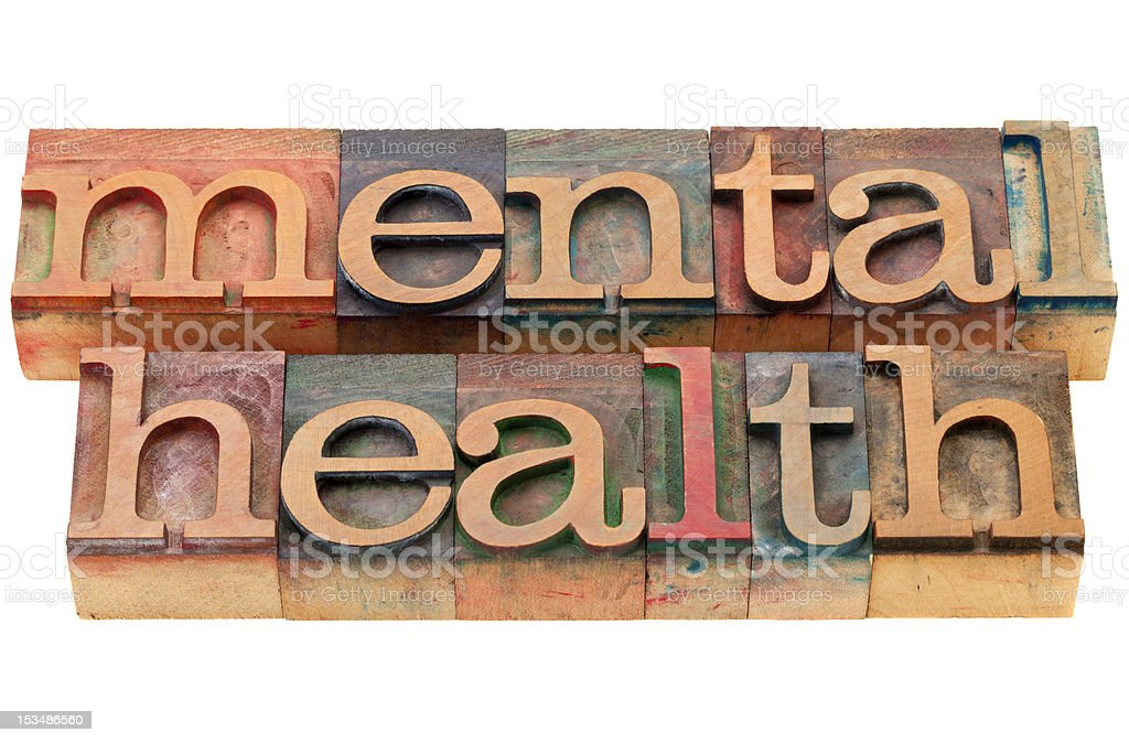 mental health in wood letters royalty-free stock photo