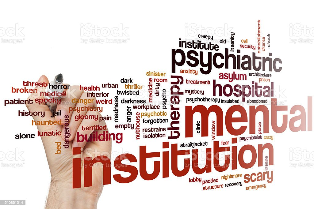 Mental institution word cloud stock photo