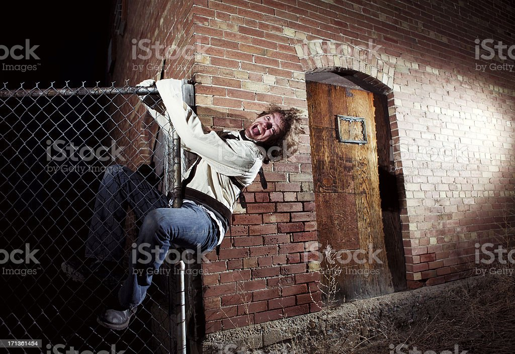 Mental Patient Escaping Hospital royalty-free stock photo