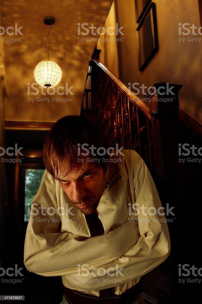 Mental Patient in Old Asylum stock photo
