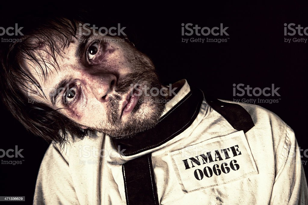 Mental Patient in Straightjacket stock photo